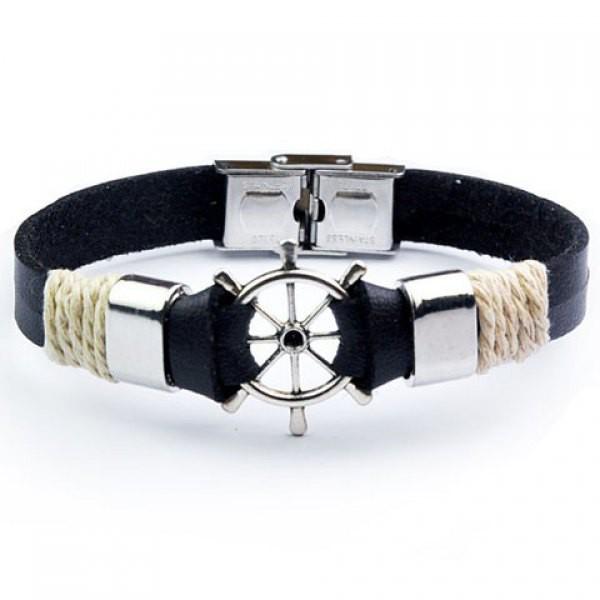 Leather bracelet helm Shape